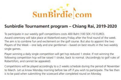 Sunbirdie Tournaments 2019-20